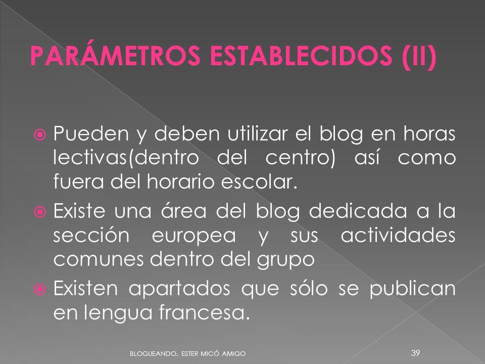 PARÁMETROS ESTABLECIDOS (II)