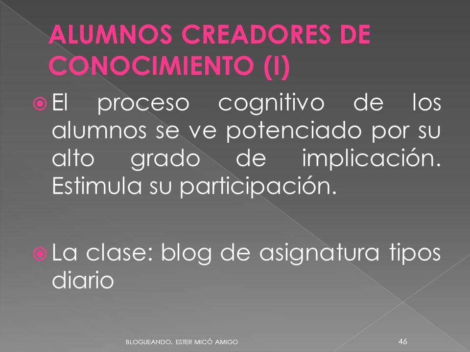 ALUMNOS CREADORES DE CONOCIMIENTO (I)