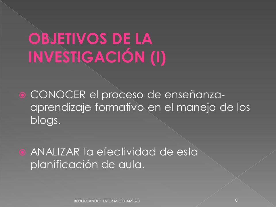 OBJETIVOS DE LA INVESTIGACIÓN (I)