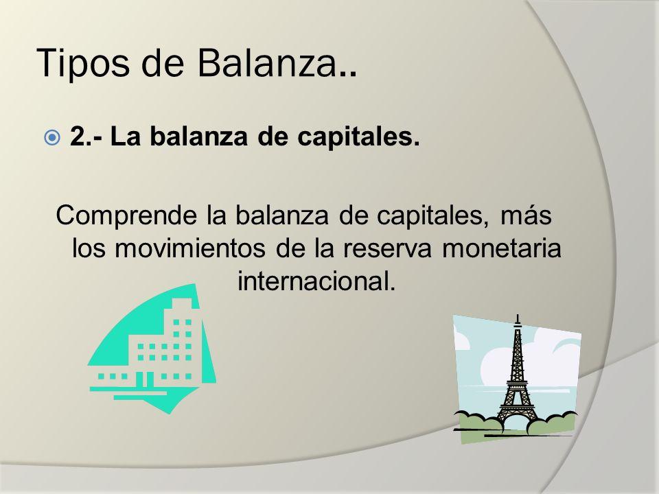 Tipos de Balanza.. 2.- La balanza de capitales.