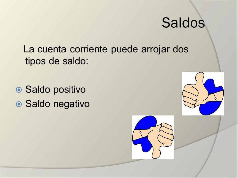 Saldos La cuenta corriente puede arrojar dos tipos de saldo: