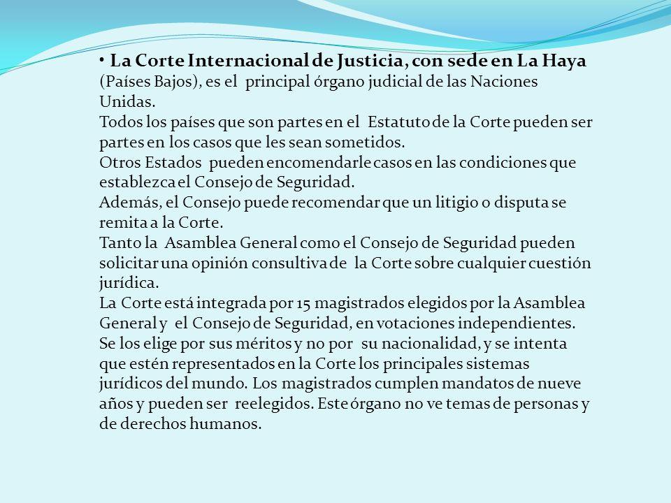 • La Corte Internacional de Justicia, con sede en La Haya (Países Bajos), es el principal órgano judicial de las Naciones Unidas.