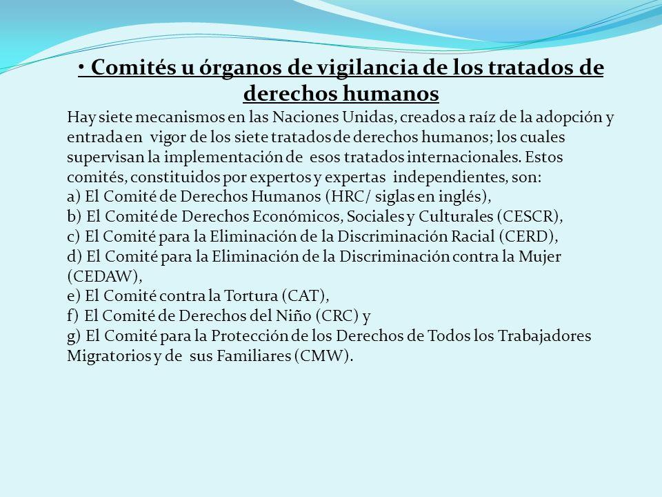 • Comités u órganos de vigilancia de los tratados de derechos humanos