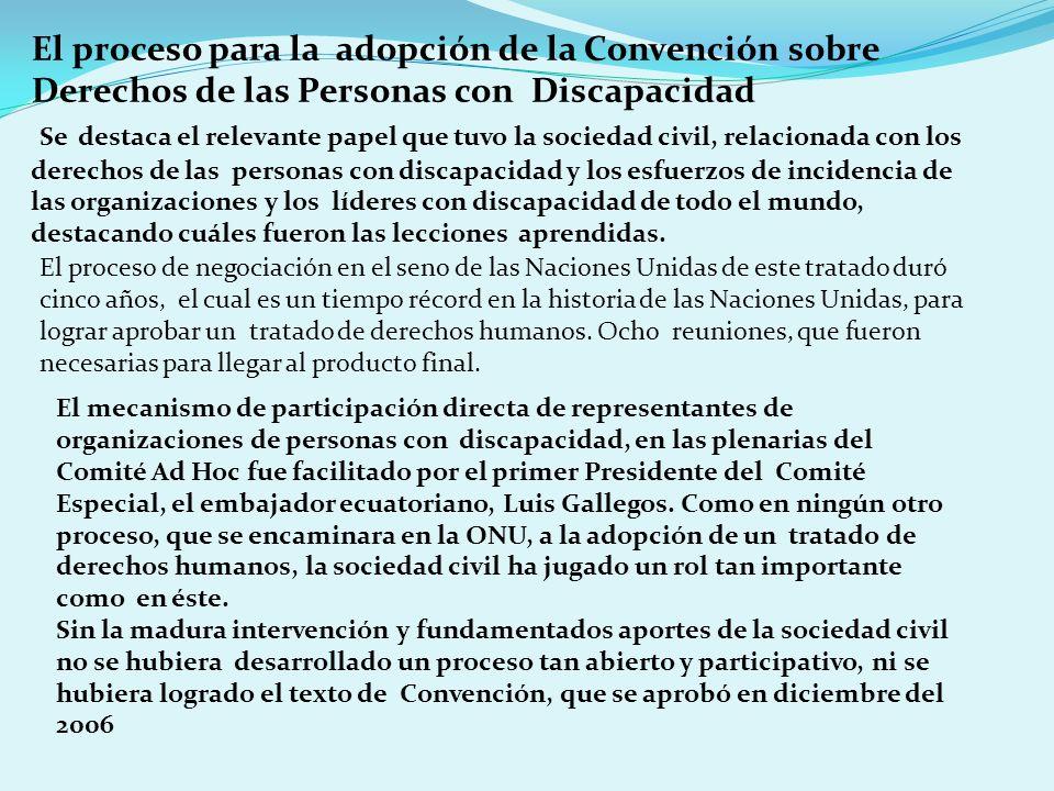 El proceso para la adopción de la Convención sobre Derechos de las Personas con Discapacidad