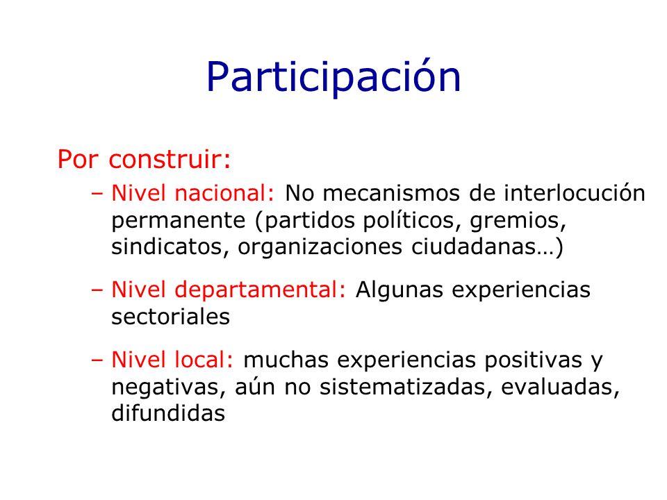 Participación Por construir: