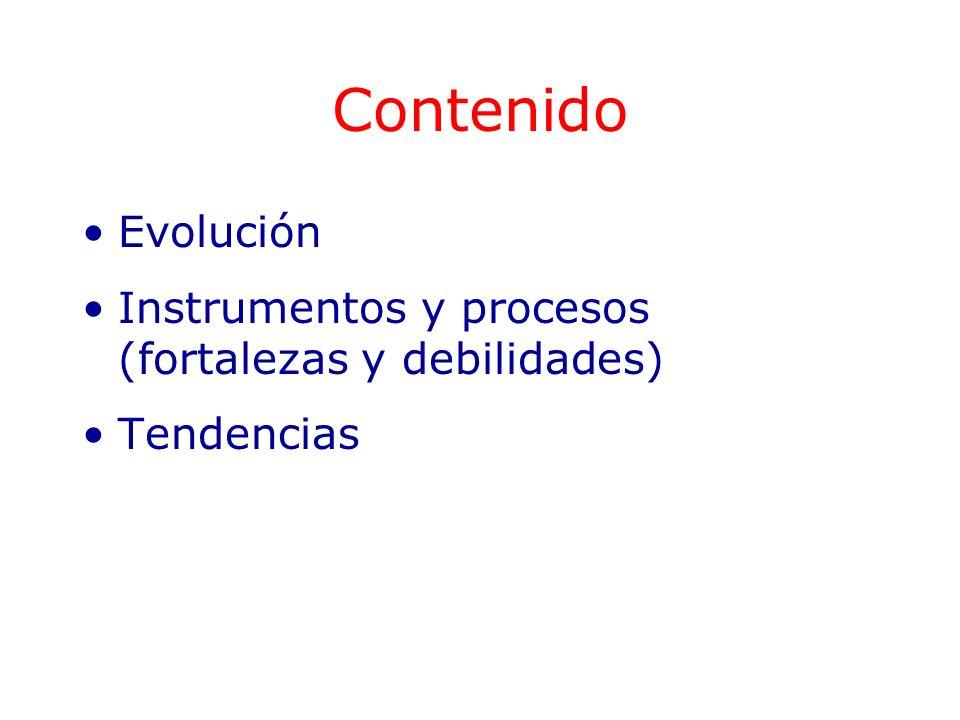 Contenido Evolución Instrumentos y procesos (fortalezas y debilidades)