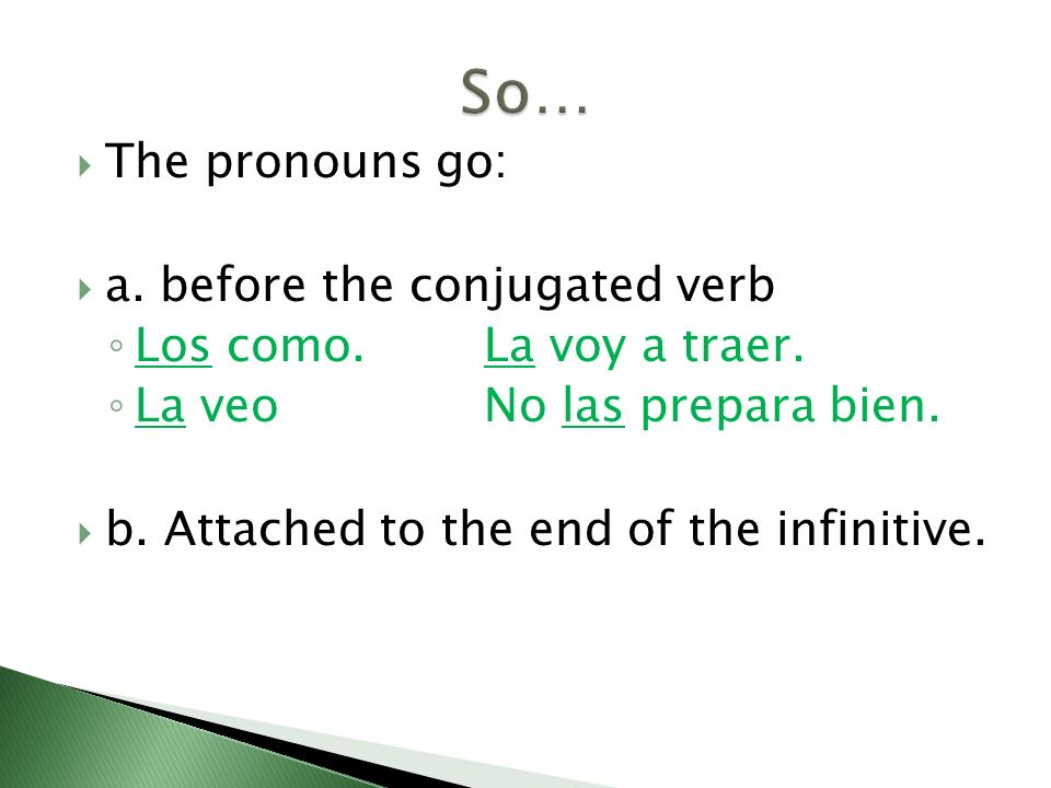 So… The pronouns go: a. before the conjugated verb