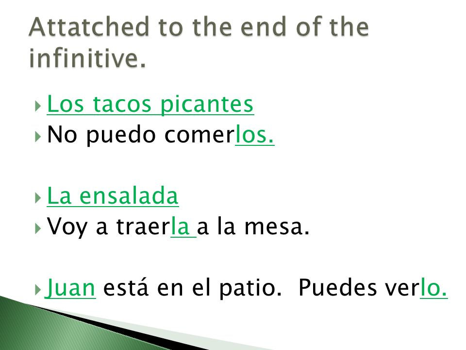 Attatched to the end of the infinitive.