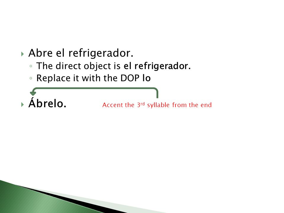 Ábrelo. Accent the 3rd syllable from the end