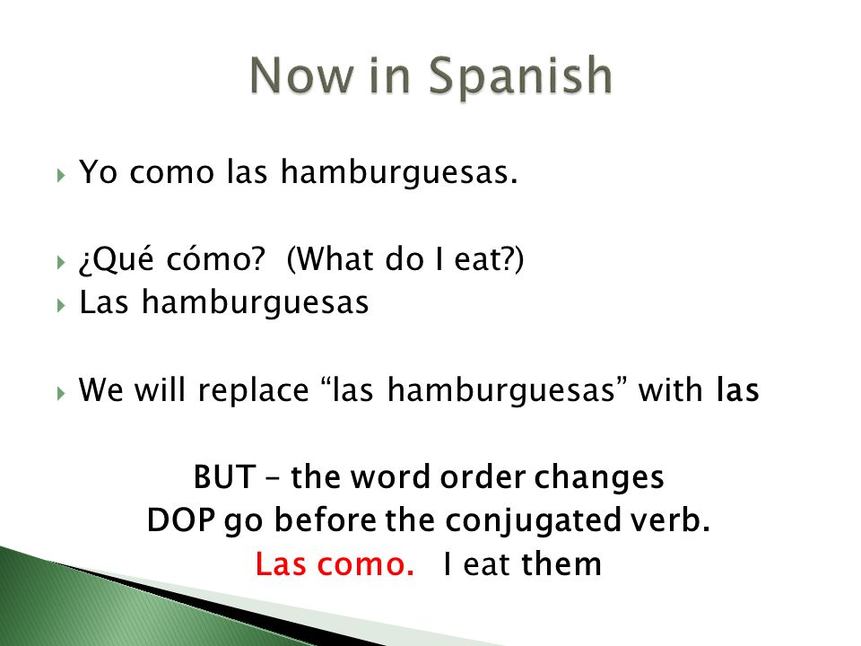 BUT – the word order changes DOP go before the conjugated verb.