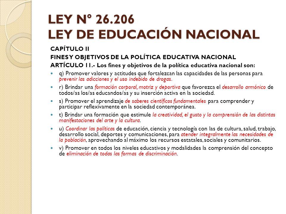 LEY N° 26.206 LEY DE EDUCACIÓN NACIONAL