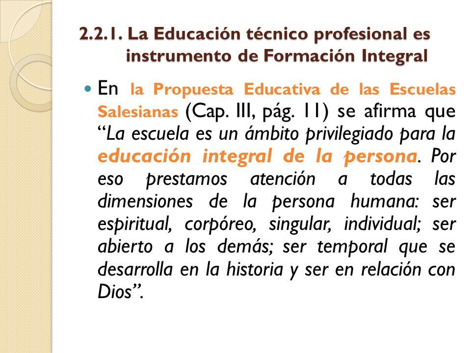 2. 2. 1. La Educación técnico profesional es