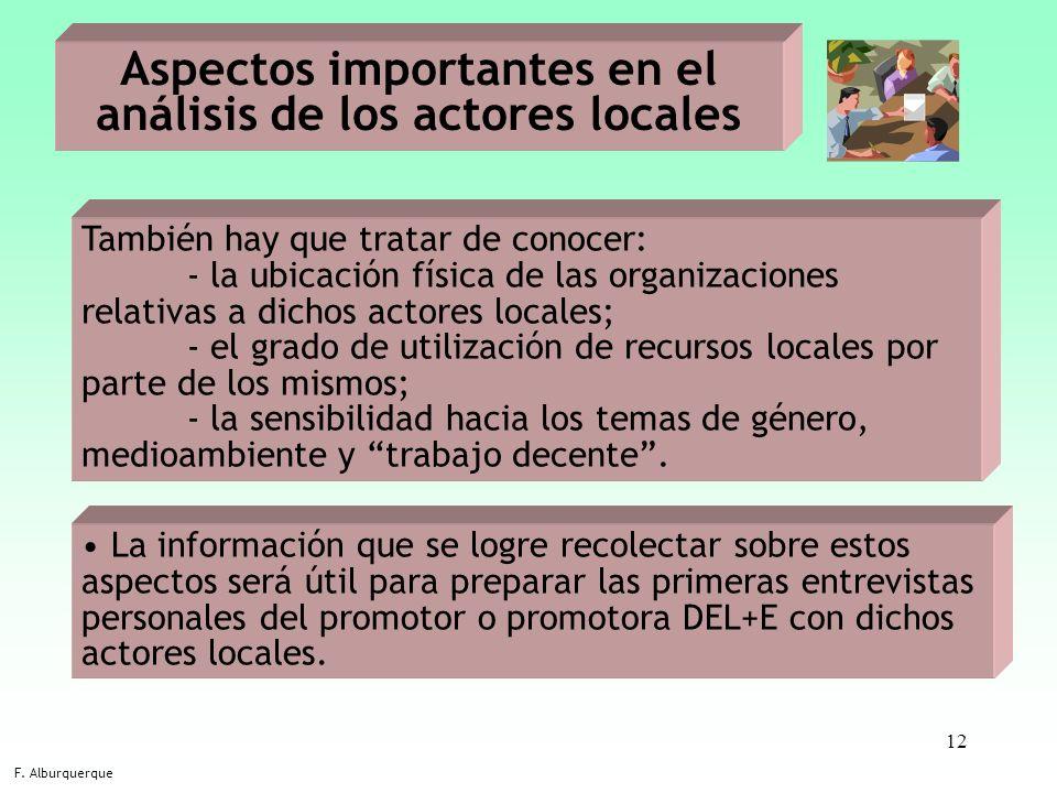 Aspectos importantes en el análisis de los actores locales