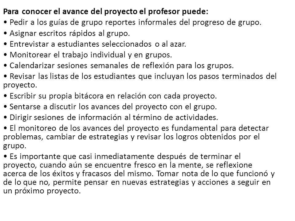 Para conocer el avance del proyecto el profesor puede: