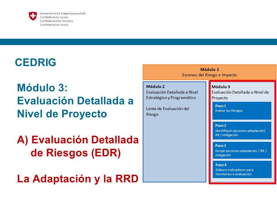 CEDRIG Módulo 3: Evaluación Detallada a Nivel de Proyecto. A) Evaluación Detallada de Riesgos (EDR)