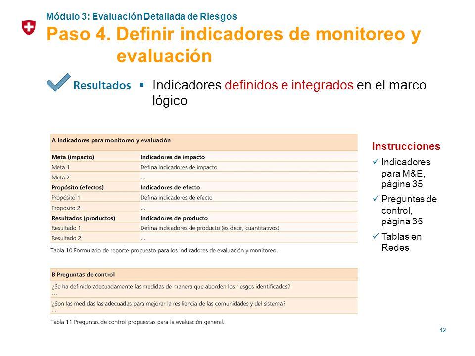 Paso 4. Definir indicadores de monitoreo y evaluación