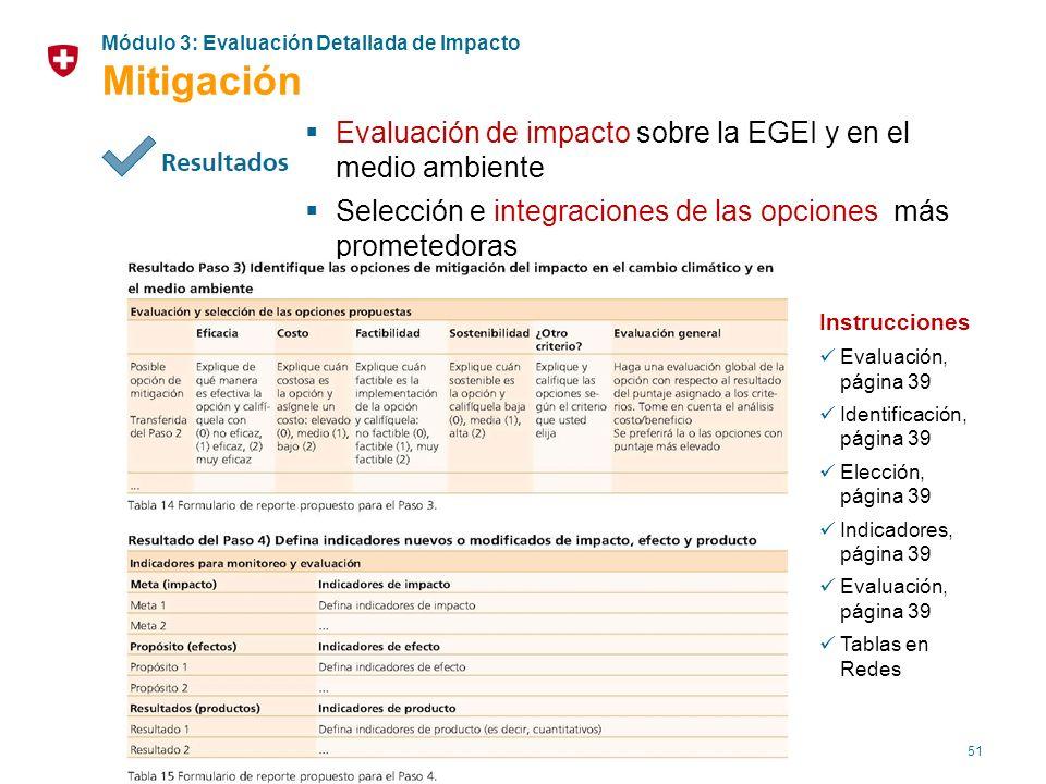 Mitigación Evaluación de impacto sobre la EGEI y en el medio ambiente