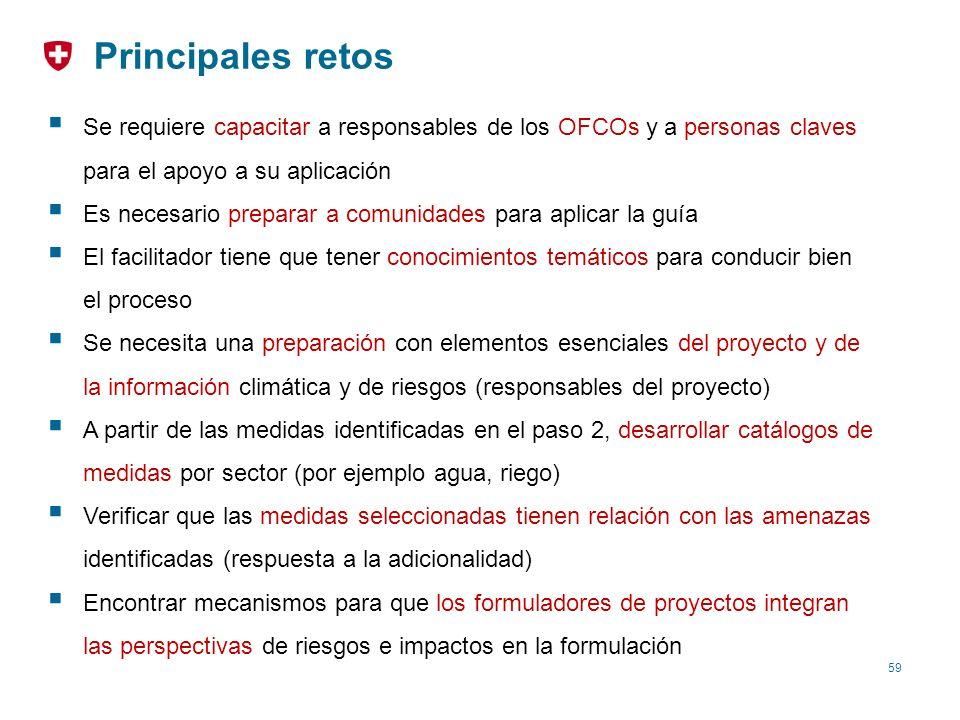 Principales retos Se requiere capacitar a responsables de los OFCOs y a personas claves para el apoyo a su aplicación.