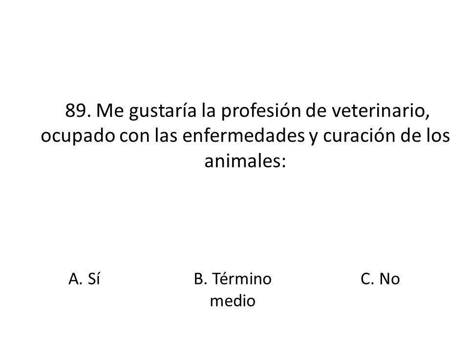 89. Me gustaría la profesión de veterinario, ocupado con las enfermedades y curación de los animales: