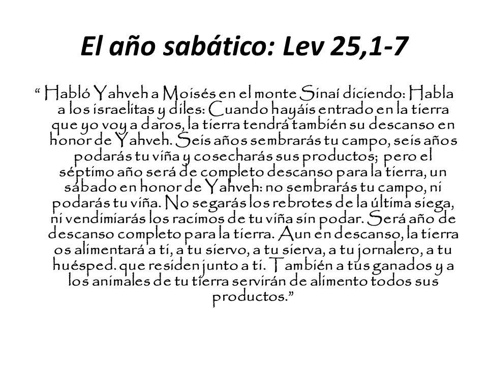 El año sabático: Lev 25,1-7