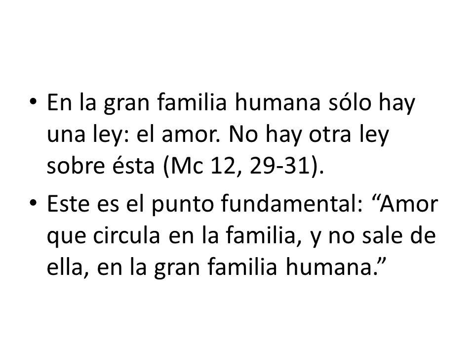 En la gran familia humana sólo hay una ley: el amor