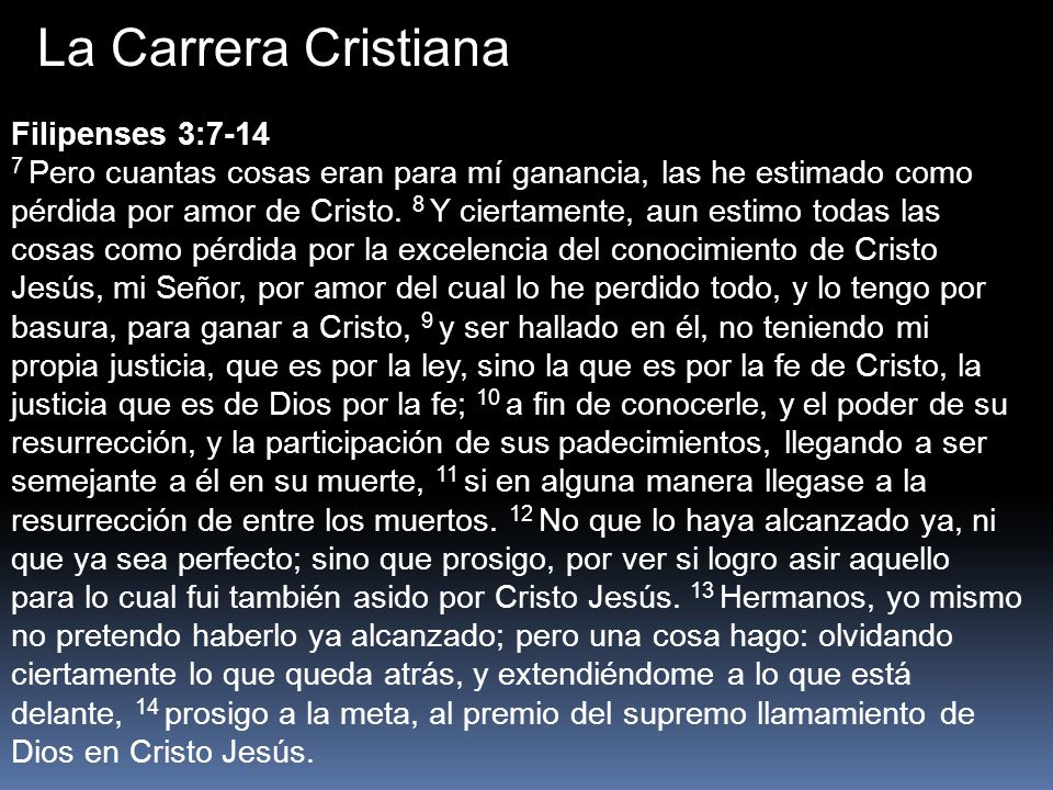 La Carrera Cristiana Filipenses 3:7-14