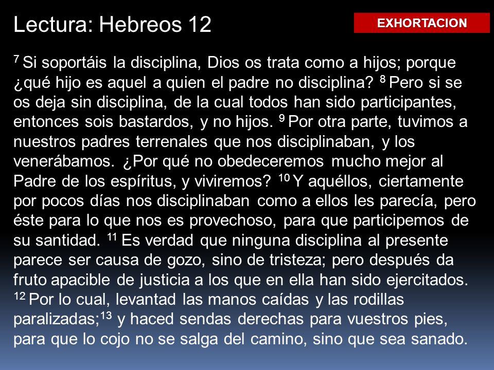 Lectura: Hebreos 12 EXHORTACION.