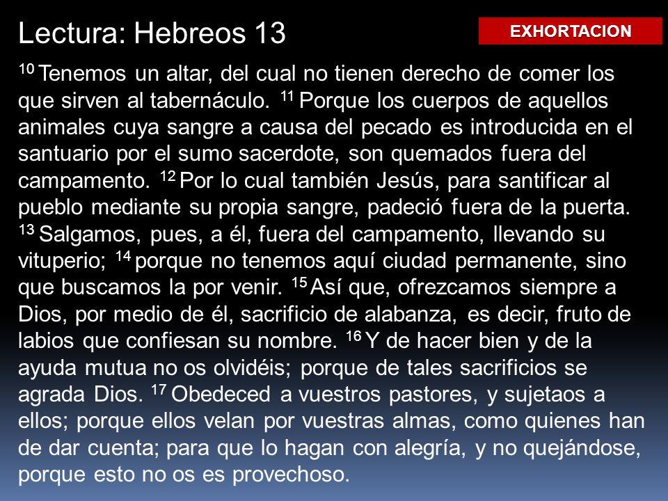 Lectura: Hebreos 13 EXHORTACION.