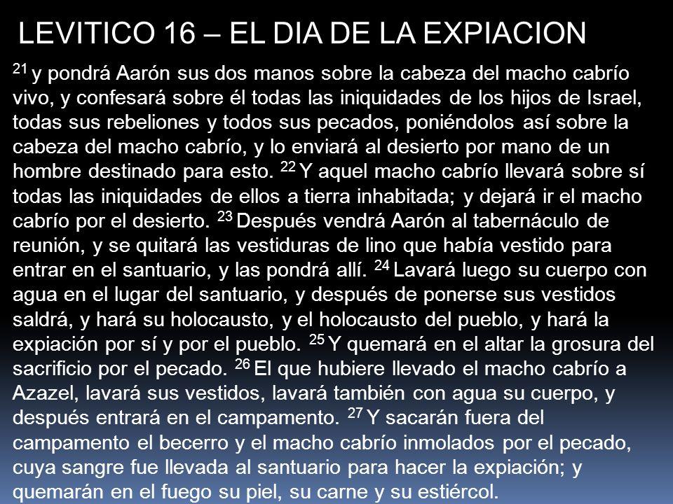 LEVITICO 16 – EL DIA DE LA EXPIACION