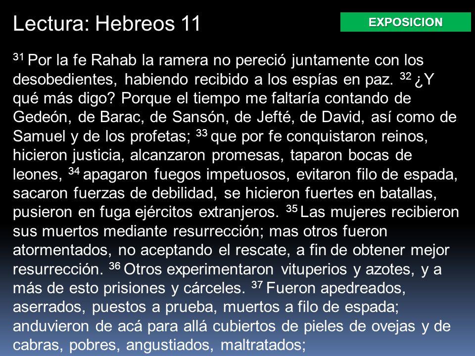 Lectura: Hebreos 11 EXPOSICION.