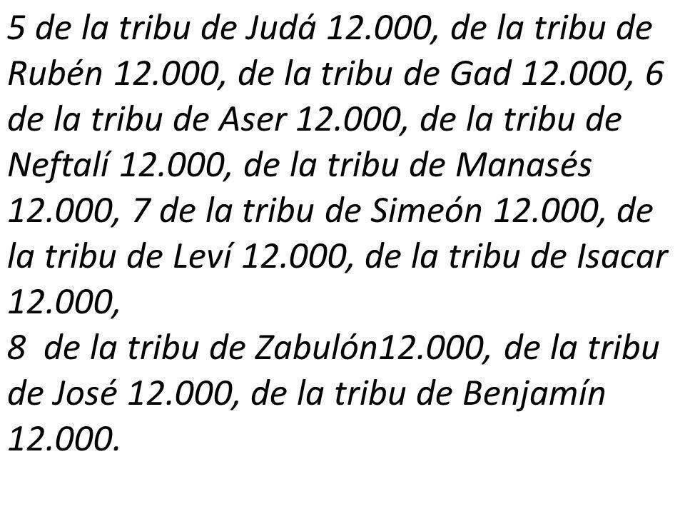 5 de la tribu de Judá 12. 000, de la tribu de Rubén 12