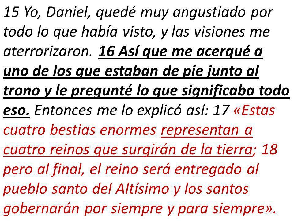 15 Yo, Daniel, quedé muy angustiado por todo lo que había visto, y las visiones me aterrorizaron.