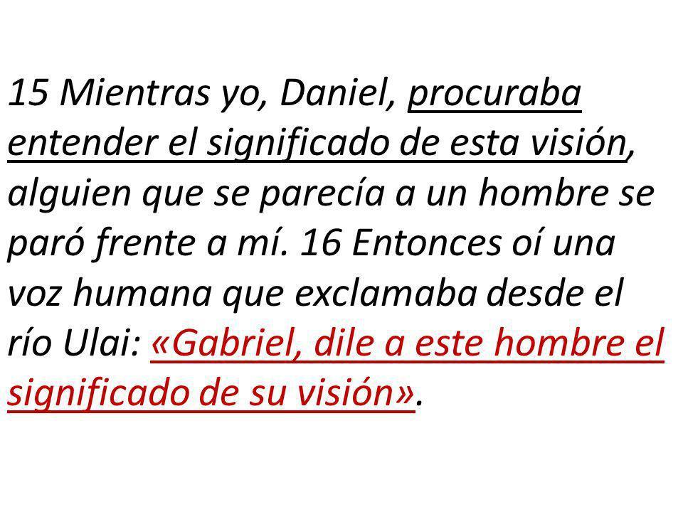 15 Mientras yo, Daniel, procuraba entender el significado de esta visión, alguien que se parecía a un hombre se paró frente a mí.