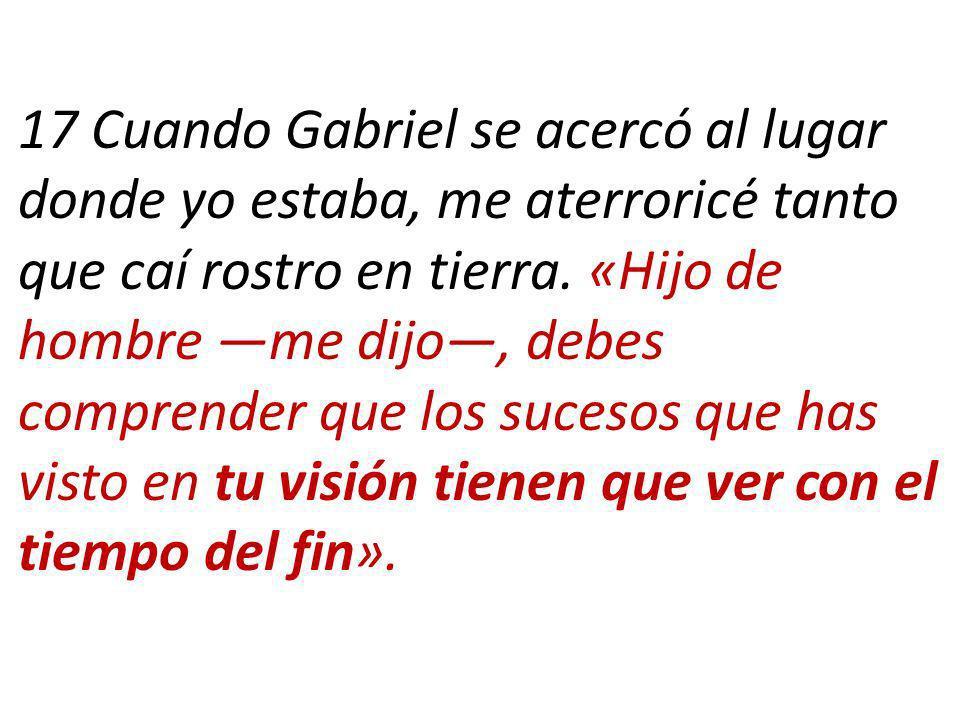 17 Cuando Gabriel se acercó al lugar donde yo estaba, me aterroricé tanto que caí rostro en tierra.