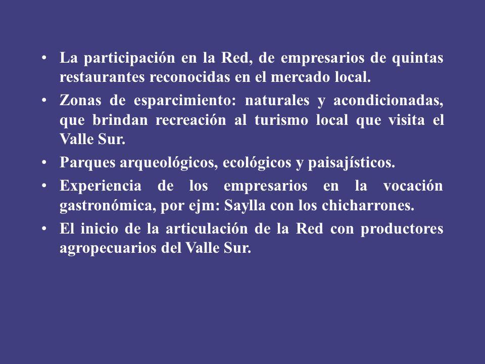 La participación en la Red, de empresarios de quintas restaurantes reconocidas en el mercado local.
