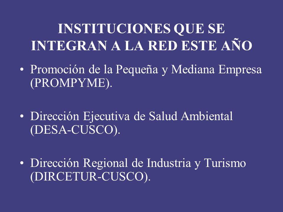 INSTITUCIONES QUE SE INTEGRAN A LA RED ESTE AÑO