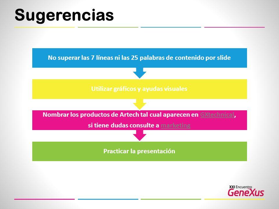 Sugerencias No superar las 7 líneas ni las 25 palabras de contenido por slide. Utilizar gráficos y ayudas visuales.