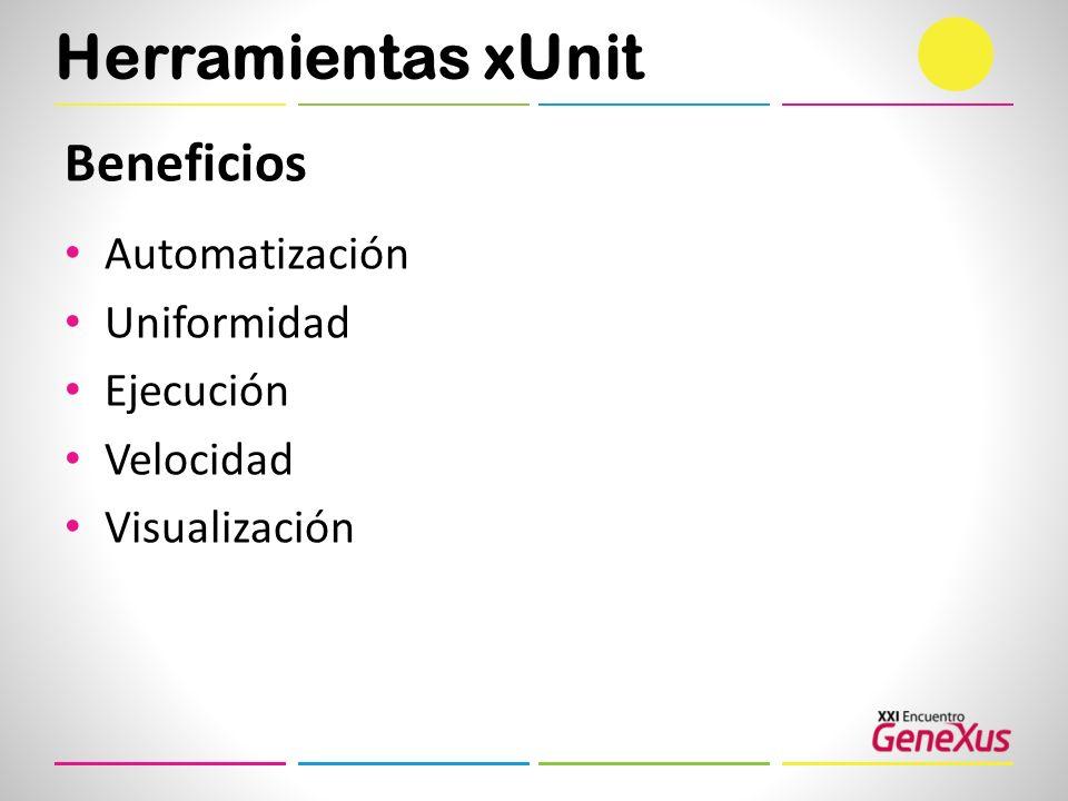 Herramientas xUnit Beneficios Automatización Uniformidad Ejecución