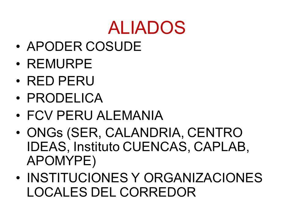ALIADOS APODER COSUDE REMURPE RED PERU PRODELICA FCV PERU ALEMANIA