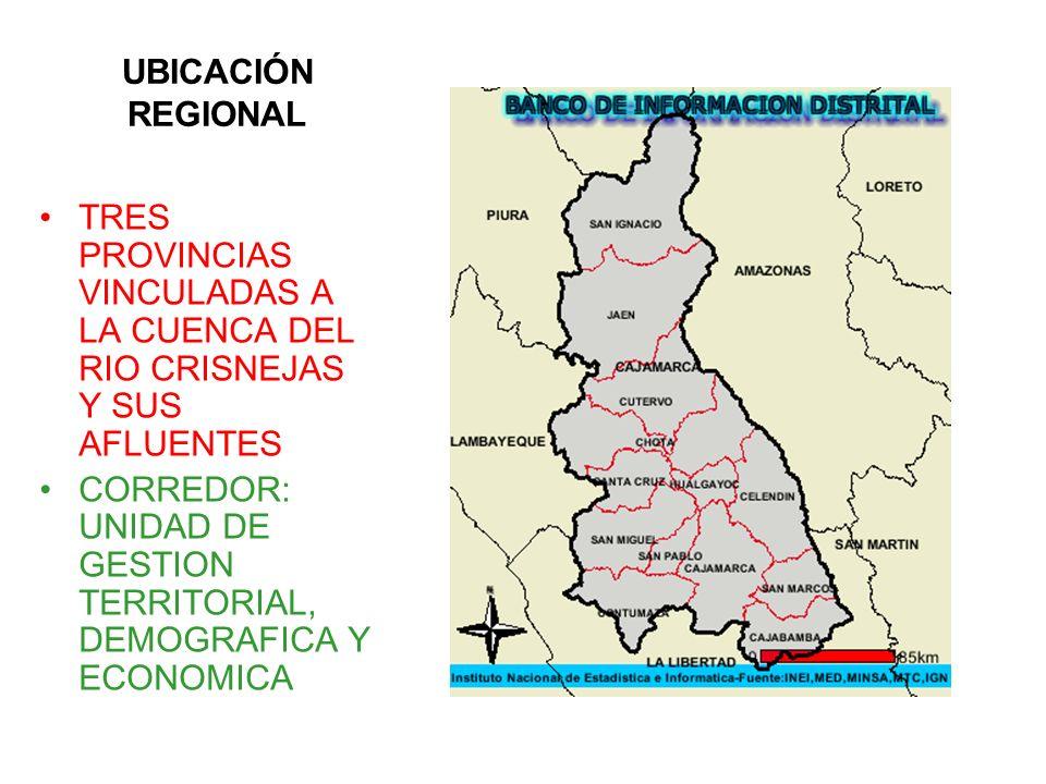 UBICACIÓN REGIONAL TRES PROVINCIAS VINCULADAS A LA CUENCA DEL RIO CRISNEJAS Y SUS AFLUENTES.