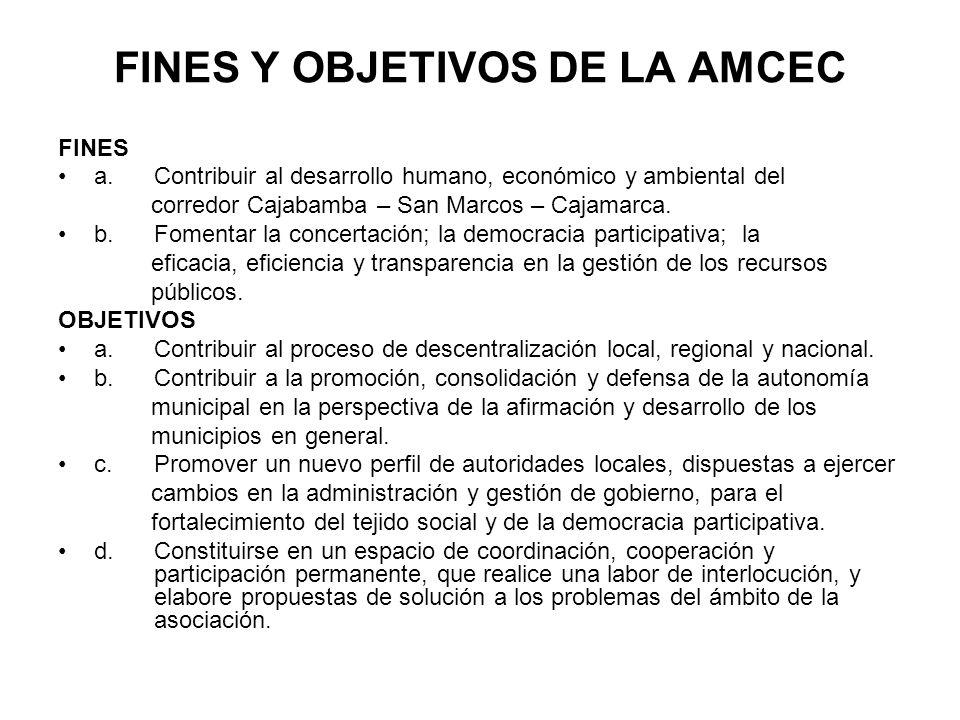 FINES Y OBJETIVOS DE LA AMCEC