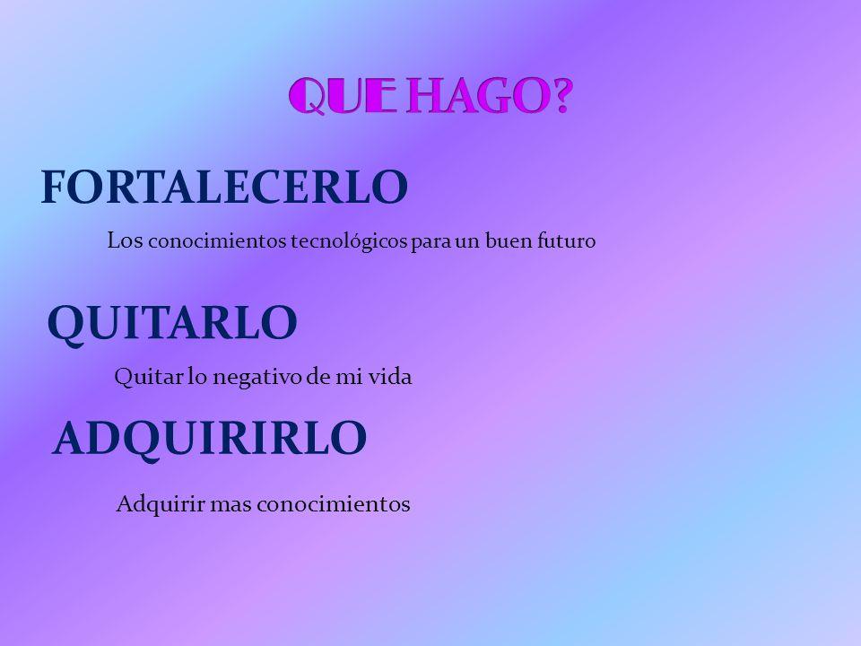QUE HAGO FORTALECERLO QUITARLO ADQUIRIRLO