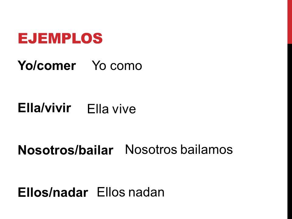 ejemplos Yo/comer Ella/vivir Nosotros/bailar Ellos/nadar Yo como