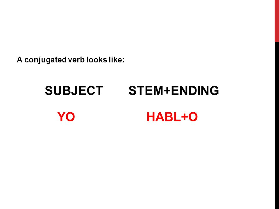 A conjugated verb looks like: SUBJECT STEM+ENDING