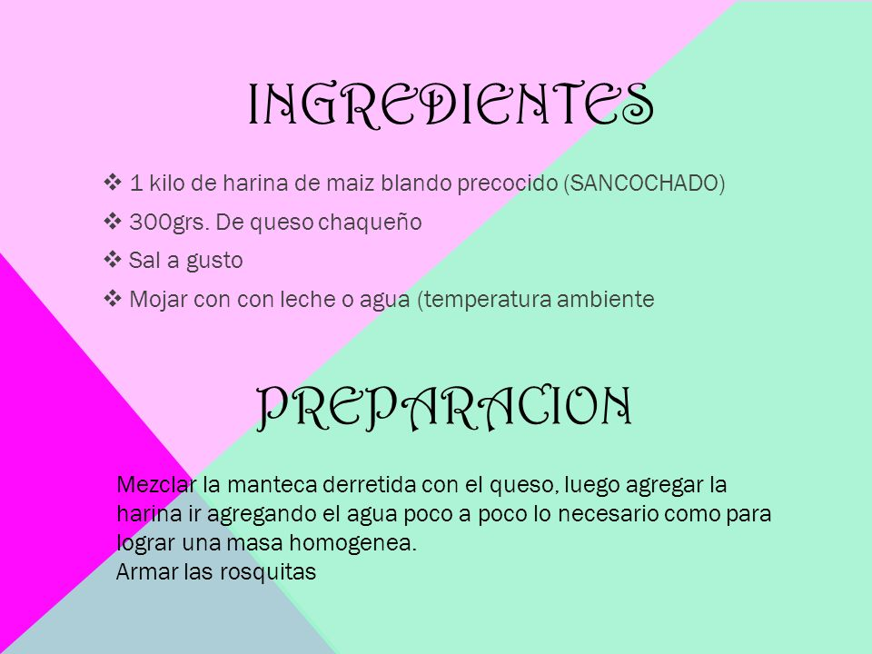 ingredientes PREPARACION