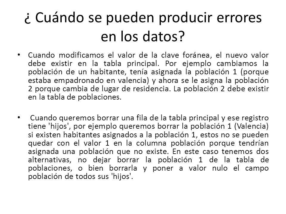 ¿ Cuándo se pueden producir errores en los datos