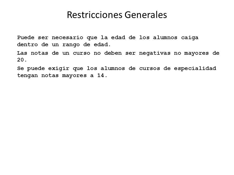 Restricciones Generales