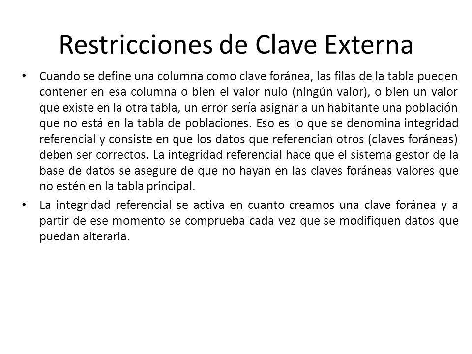 Restricciones de Clave Externa