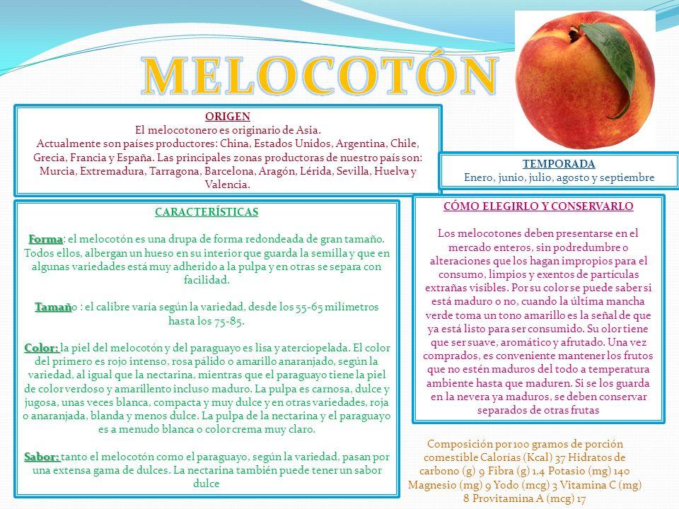 MELOCOTÓN ORIGEN El melocotonero es originario de Asia.