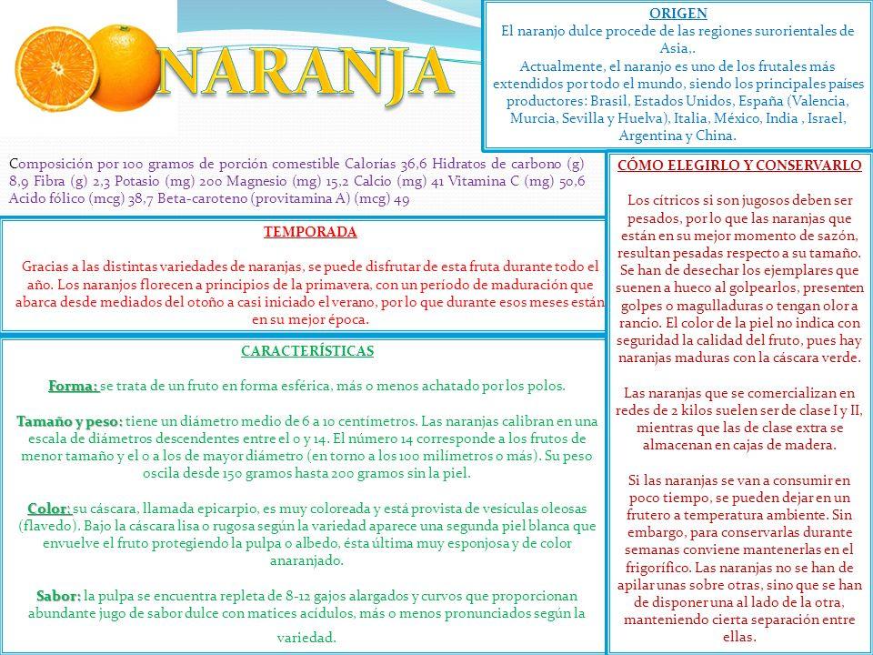 El naranjo dulce procede de las regiones surorientales de Asia,.